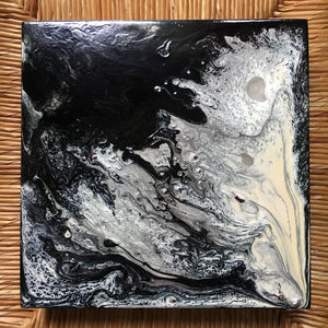 "Light and Dark - original abstract painting on wood panel 8""x8""x1.5"" Black & White"