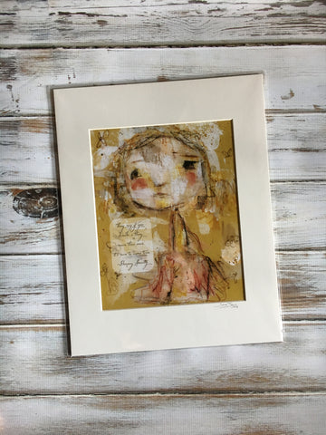 If You Dream A Thing More Than Once - Dear Girl Art Print 8x10 matted for 11x14 frame