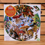 Mushrooms and Butterflies 500 piece Round Puzzle - Eeboo