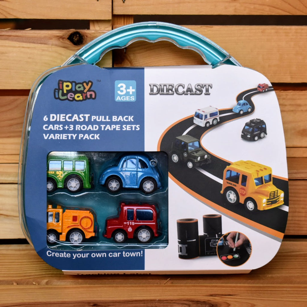 iPlay iLearn Diecast Cars and Road Tape Set