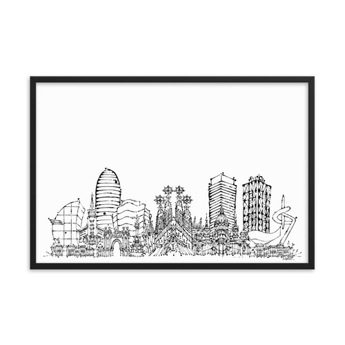 Barcelona Skyline Framed photo paper poster - Black on White
