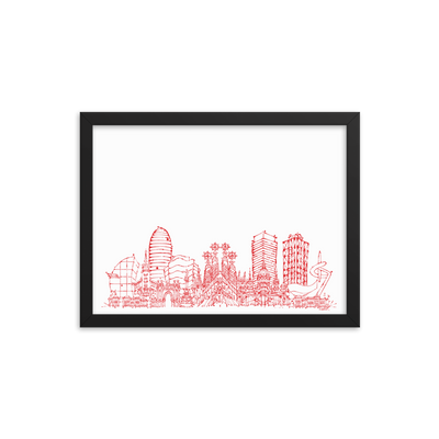 Barcelona Skyline Framed photo paper poster - Red on White