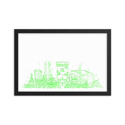 Dublin Skyline Framed photo paper poster - Neon Green on White