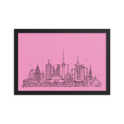 Toronto Skyline Framed photo paper poster - Black on Pink