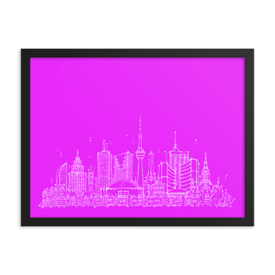 Toronto Skyline Framed photo paper poster - White on Hot Pink