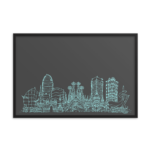 Barcelona Skylien Framed photo paper poster - Teal on Grey