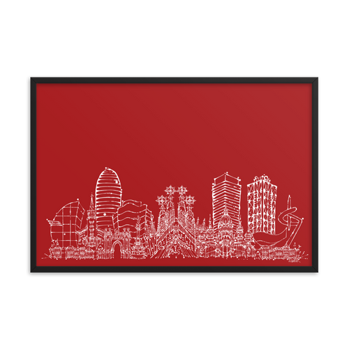 Barcelona Skyline - White on Red -Framed photo paper poster