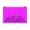 Toronto Skyline Photo paper poster - Black on Hot Pink