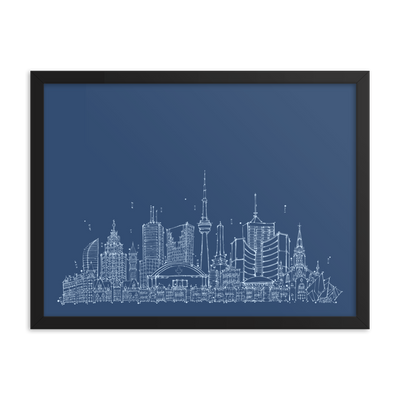 Toronto Skyline Framed photo paper poster - Sky Blue on Blue