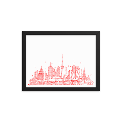 Toronto Skyline Framed photo paper poster - Red on White