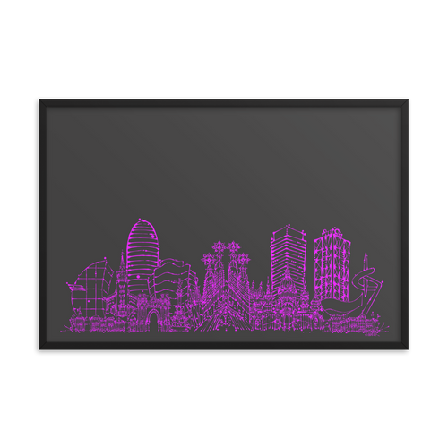 Barcelona Skyline Framed photo paper poster - Hot Pink on Grey