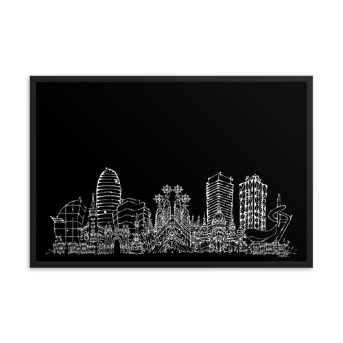 Barcelona Skyline Framed photo paper poster - White on Black