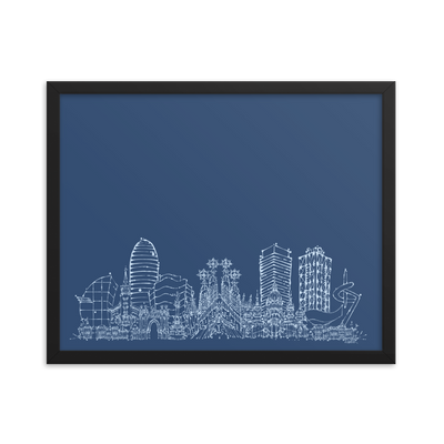 Barcelona Skyline Framed photo paper poster - White on Blue