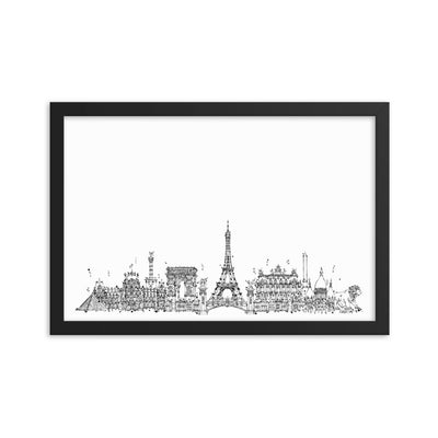 Paris - Black on White - Framed photo paper poster