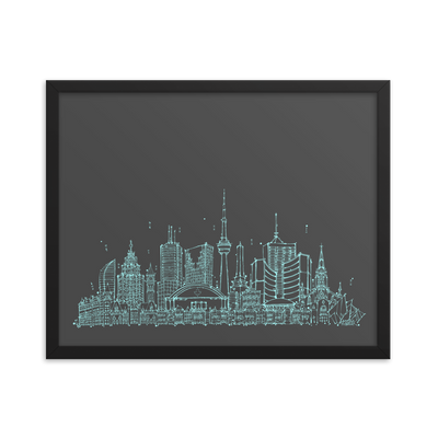 Toronto Skyline Framed photo paper poster - Teal on Grey