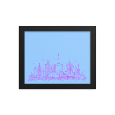 Toronto Skyline Framed photo paper poster - Hot Pink on Sky Blue