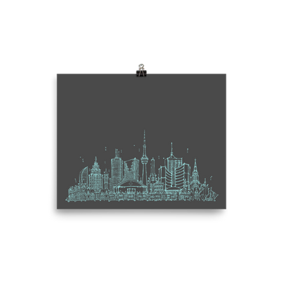 Toronto Skyline Photo paper poster - Teal on Grey