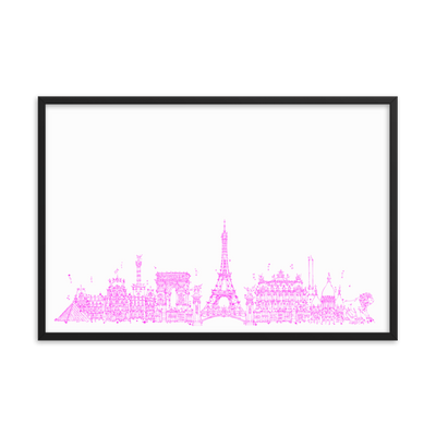 Paris Skyline Framed photo paper poster - Pink on White