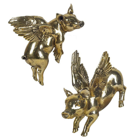 Mercana 44265 Hogbadi IV (Set of 2) Wall Décor, Gold, 10x6.25x11.8 - The Modern Farmhouse