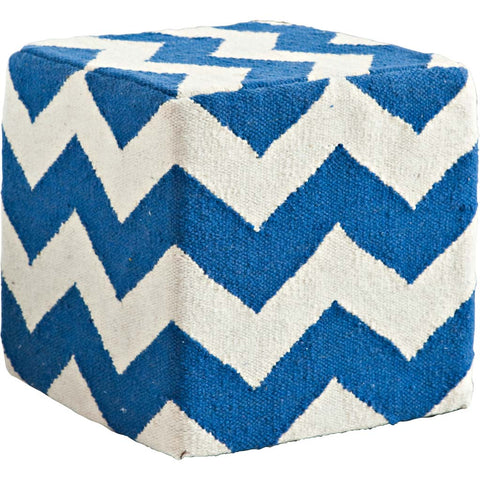 Mercana 50126 Alliaria VII Pouf,Blue, 18x18x18 - The Modern Farmhouse