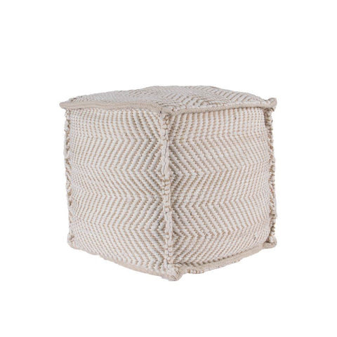 Mercana 50257 Reliqua I Pouf, White, 17x17x17 - The Modern Farmhouse