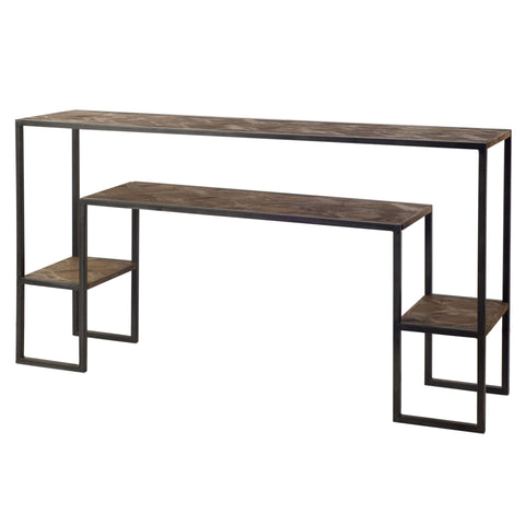 Mercana 67552 Parquet Console Table, Brown,33x13.5x60