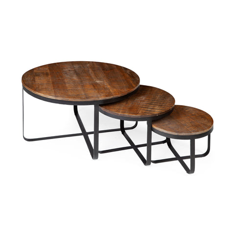Mercana 67827 Trifecta (Set of 3) Coffee Table, Walnut and black