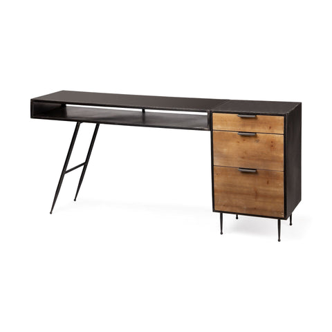 Mercana 67997-AB Rowling (Box A&B) Office Desk, Black/Brown