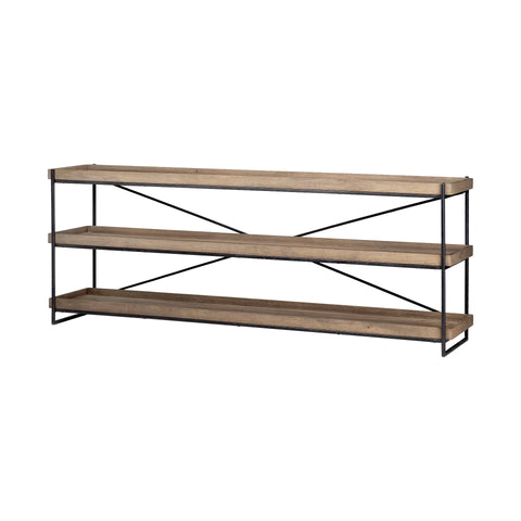 Mercana 68217 Trey I Console Table, Light brown/matte black, 30x80x16