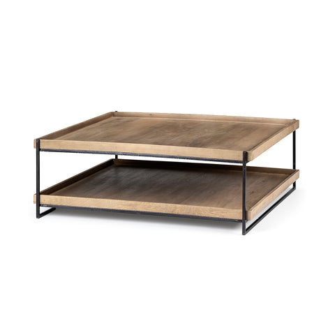 Mercana 68218 Trey II Coffee Table, Light brown/matte black