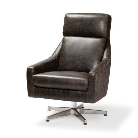 Mercana 68305 Abbott II Chair, Medium brown/satin silver