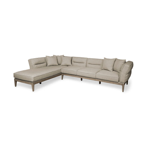 Mercana 68183-AB Denali IV (Box A&B Left) Sectional, Cream/rustic brown