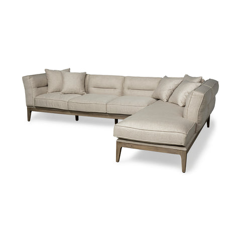 Mercana 68182-AB Denali III (Box A&B Right) Sectional, Cream/rustic brown
