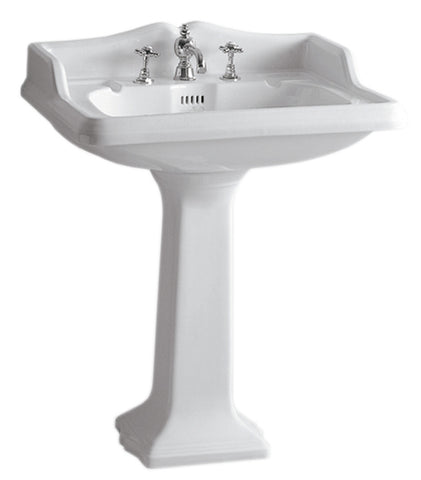 Whitehaus AR834-AR805-3H Traditional Pedestal Sink w/ an Integrated Oval Bowl - The Modern Farmhouse