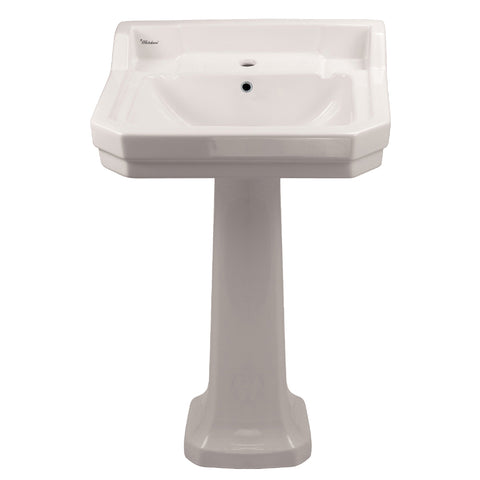Whitehaus B112M-P Pedestal Sink w/ Integrated Rectangular Bowl and Overflow - The Modern Farmhouse