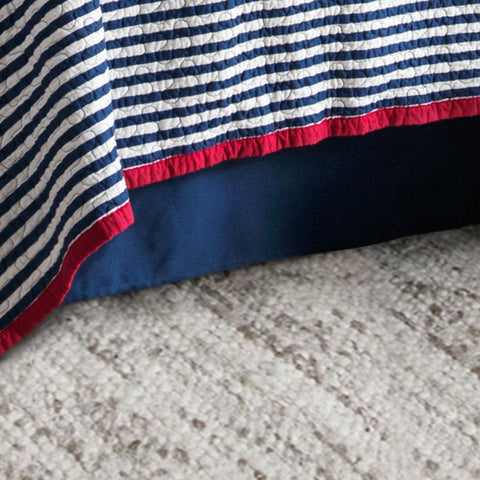 HiEnd Accents Canvas Bedskirt Navy