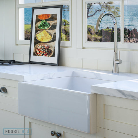 "Fossil Blu FSW1000 Luxury 26"" Pure Fireclay Modern Farmhouse Sink in White, Single Bowl, FREE GRID - The Modern Farmhouse"