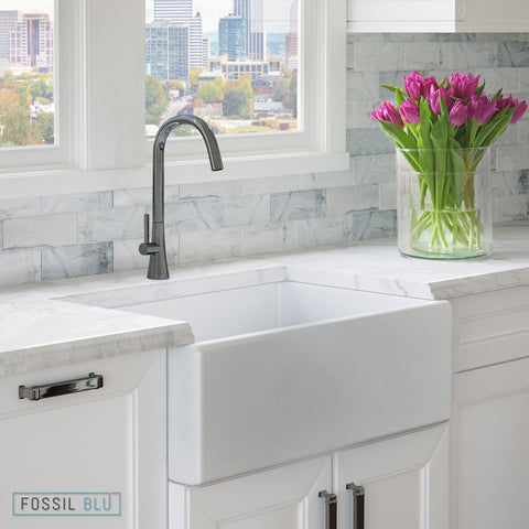 "Fossil blu FSW1001 Luxury 30"" Pure Fireclay Modern Farmhouse Sink in White, Single Bowl, FREE GRID - The Modern Farmhouse"