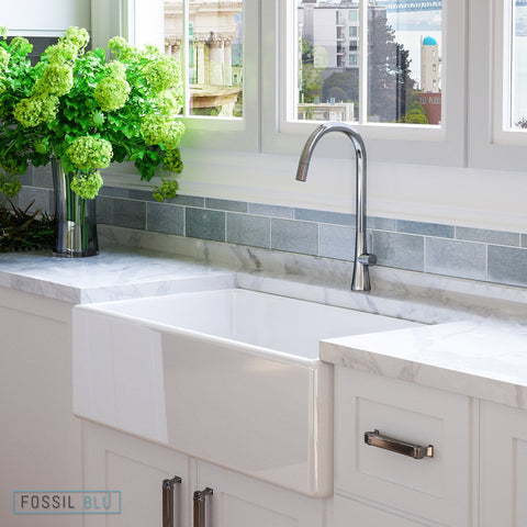 "Fossil Blu FSW1002 Luxury 33"" Pure Fireclay Modern Farmhouse Sink in White, Single Bowl, FREE GRID - The Modern Farmhouse"