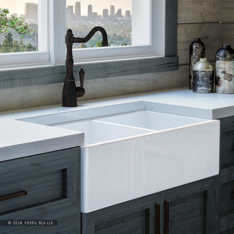 "Fossil Blu FSW1003 Luxury 33"" Pure Fireclay Modern Farmhouse Sink in White, Double Bowl, FREE GRIDS - The Modern Farmhouse"