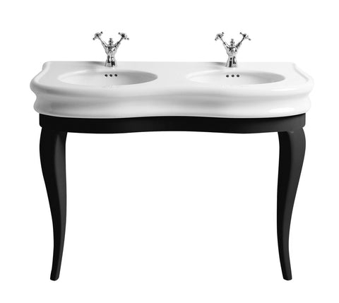 Whitehaus LA12-LAM120B Double Bowl Basin China Console with Oval bowls - The Modern Farmhouse