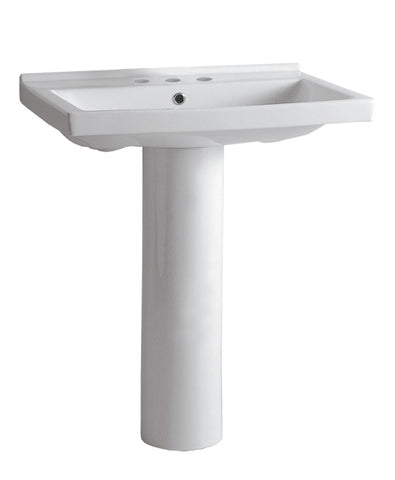 Whitehaus LU024-LU005-C-3H Isabella Collection Tubular Pedestal Sink with Rectagular Basin, Chrome Overflow and Widespread Faucet Drilling - The Modern Farmhouse