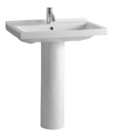 Whitehaus LU024-LU005-C-1H Isabella Collection Tubular Pedestal Sink with Rectagular Basin, Chrome Overflow and Single Hole Faucet Drilling - The Modern Farmhouse