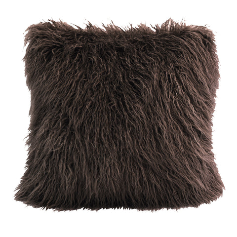 HiEnd Mongolian Faux Fur Pillow, 18x18 Chocolate