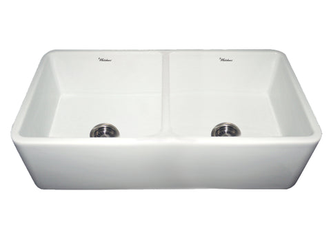 "Whitehaus WH3719 Double Bowl 37"" Fireclay Farmhouse Apron Kitchen Sink - The Modern Farmhouse"