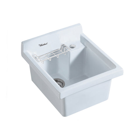 Whitehaus WH474-53 Vitreous China Drop-in Sink w/ Basket & Off Center Drain - The Modern Farmhouse