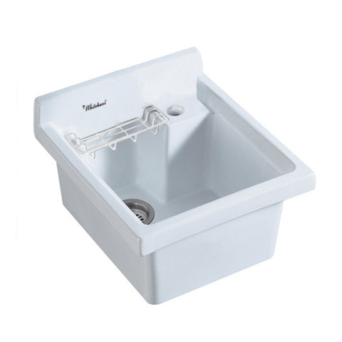 Whitehaus WH474-60 Vitreous Utility Sink w Wire Basket and Off Center Drain - The Modern Farmhouse