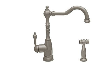 Whitehaus WHEG-34681 Single Lever Kitchen Faucet w/ Solid Brass Side Spray - The Modern Farmhouse