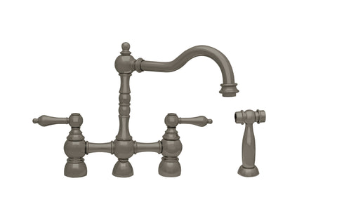 Whitehaus WHEGB-34656 Bridge Faucet With Long Swivel Spout and Side Spray - The Modern Farmhouse