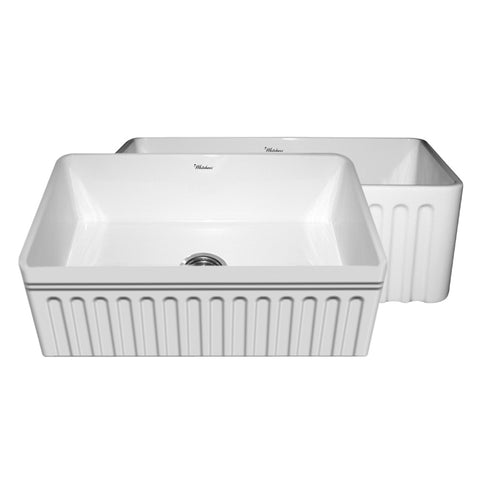 Whitehaus WHFLQ3018 Kitchen Farm Sink With Fluted Apron And Decorative Lip - The Modern Farmhouse